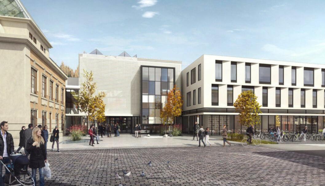 Slik er det nye universitetsbygget i Steinkjer tegnet. Foto: InCube as og Praksis arkitekter as
