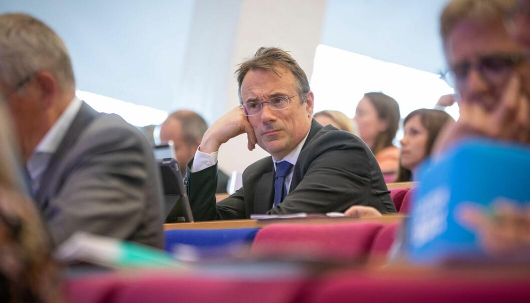 Rektor ved Høgskulen i Volda, Johann Roppen, var en av flere representanter for de minste medlemsinstitusjonene som var kritisk til ny modell for medlemsavgift i Unviersitets- og høgskolerådet. Foto: Siri Øverland Eriksen
