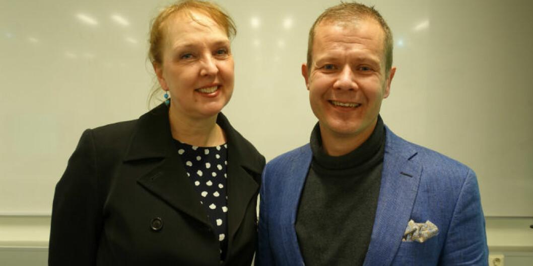 Marian Konow Lund og Maria Konow Lund og Rune Halvorsen ble feiret ta de begge mottok Marie Skłodowska-Curie stipend. Foto: HiOA/OsloMet