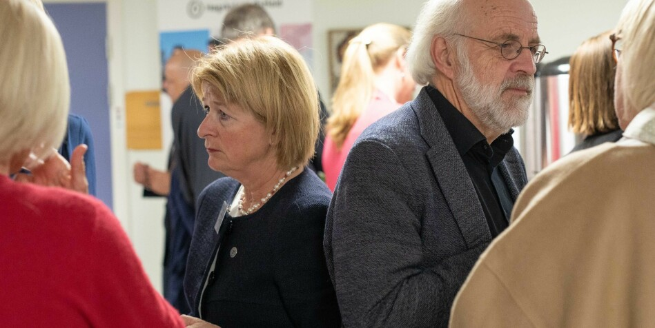 Anne Husebekk, rektor ved UiT Norges arktiske universitet og Petter Aasen, Universitetet i Sørøst-Norge, er 2 av 32 rektorer som har undertegnet uttalelsen til støtte for krav om autonomi for styret ved Nord universitet. Foto: Siri Øverland Eriksen