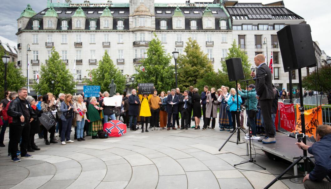 Onsdag 12. juni inntok Nesna-aksjonister Oslo. Foto: Runhild Heggem