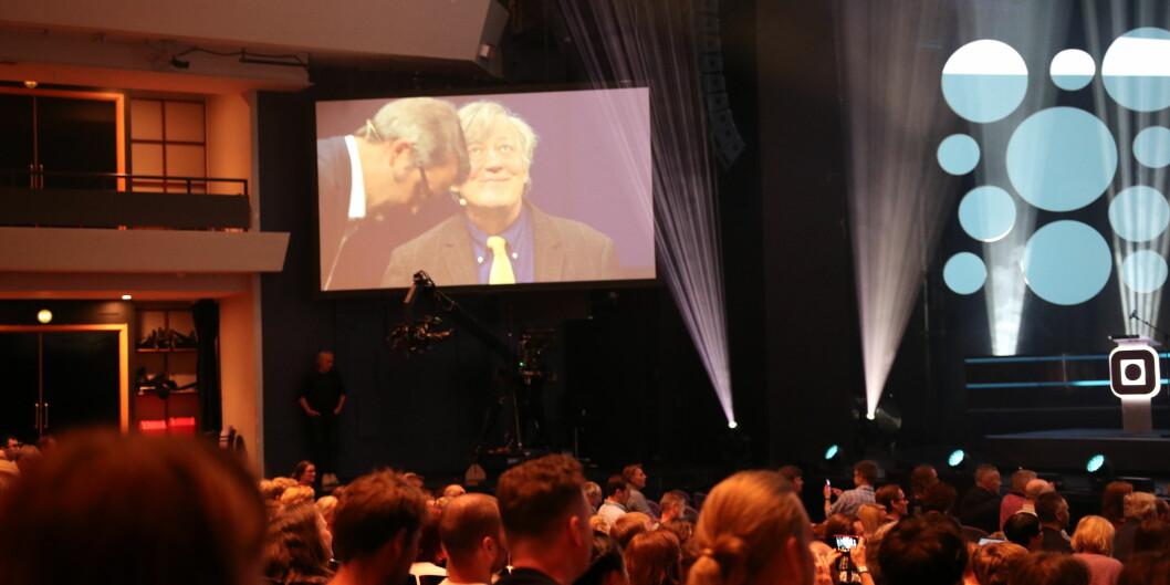 — Til saman er det ein teknologisk tsunami som er på veg mot oss, seier Fry, som ikkje er in the mood for britisk understatement på The Big Challenge i samtale med Thomas Seltzer i Trondheim. Foto: Njord Svendsen