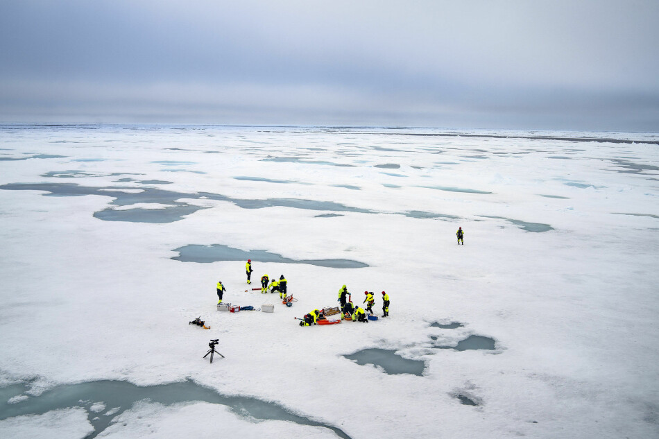 Forskere arbeider på isen i det nordlige Barentshavet. Foto: Siv N.K.Hoff/The Nansen Legacy
