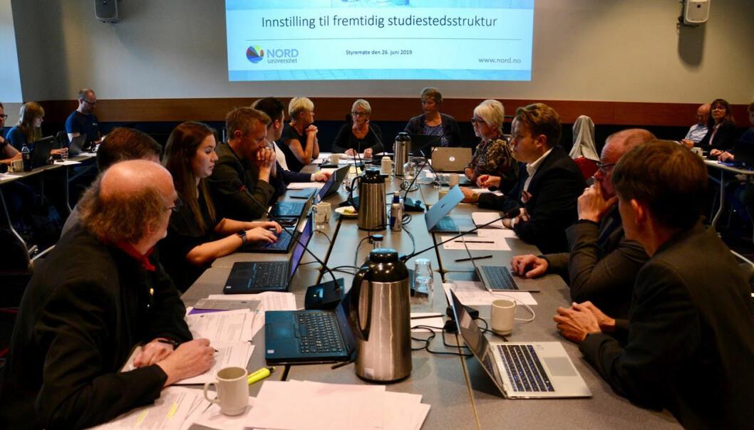 Fra styremøtet ved Nord universitet som vedtok ny studiestedsstruktur i juni. Foto: Øystein Fimland