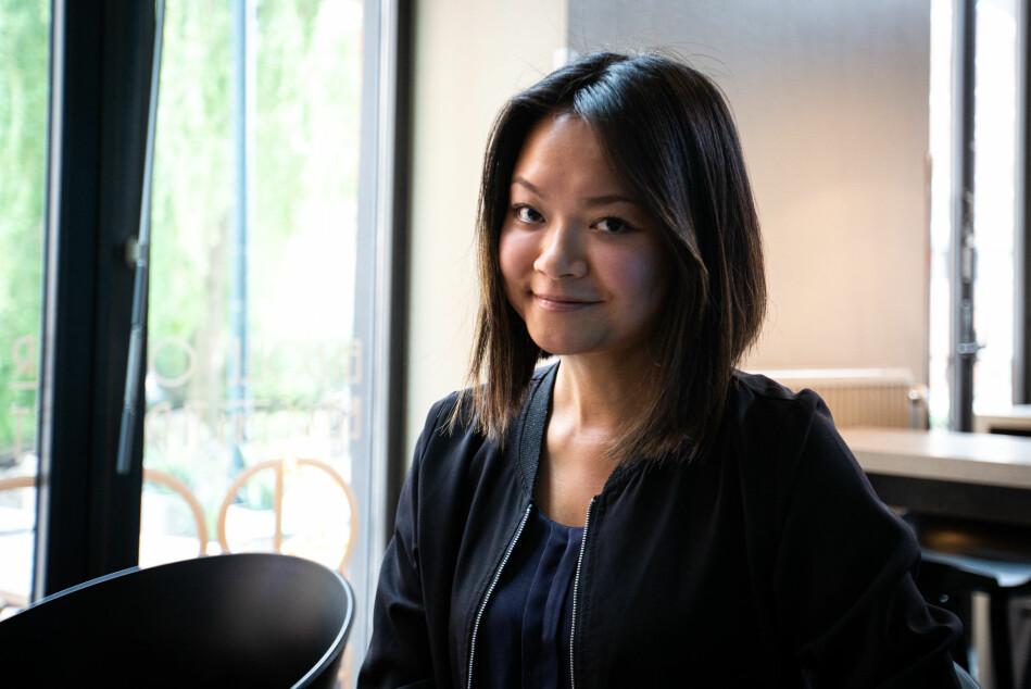 Winnie Poon var med og stiftet startup-bedriften SKIE, som produserer gardiner med solceller. Bedriftens motto er at der det er et vindu, er det potensial, sier Poon. Foto: Runhild Heggem