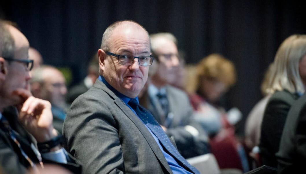 Rektor Gunnar Bovim kan sjå tilbake på tre prosent nynorsk på NTNUs nettsider i 2018. Foto: Skjalg Bøhmer Vold