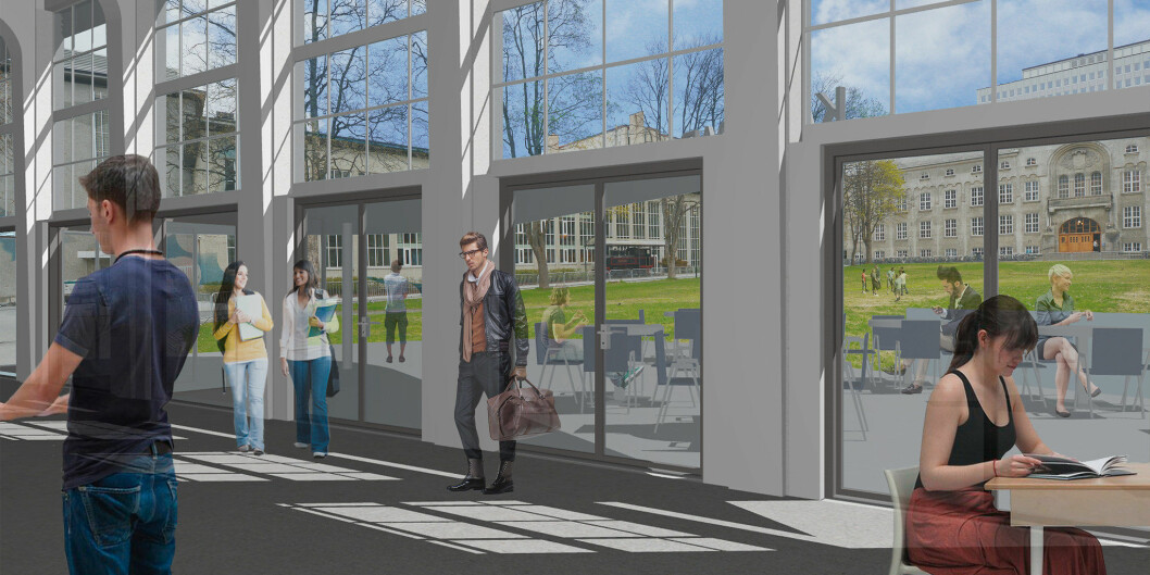 NTNU treng pengar til forprosjektet for å kunne koma i gang med ny campus. Dette viser korleis det kan verta, frå ei moglegheitsstudie. Dagens hovudbibliotek, ny inngang, bokkafe, infoavdeling, møtestad.     Illustrasjon: Bergesen Arkitekter for NTNU
