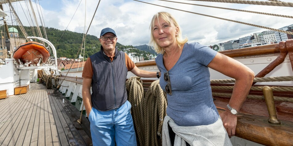 Rektor Dag Rune Olsen og prorektor Margareth Hagen ved Universitetet i Bergen kastet loss fra Bergen torsdag. Foto: Tor Farstad