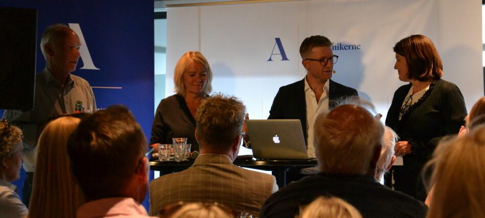 F.v: Per Olaf Lundteigen, Kristin Clemet, Svein Tore Bergestuen og Kari Sollien. Foto: Amanda Schei