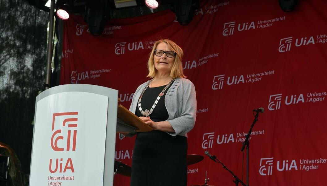 Første tale ved studiestart for UiA-rektor Sunniva Whittaker. Foto: UiA