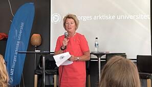 Rektor Anne Husebekk under lanseringen av oppropet i Arendal onsdag. Foto: Marit Hansen/UiT