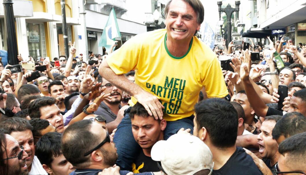 Brasils president, Jair Bolsonaro, under valgkampen i fjor. Brasil er et av landene der det beskrives angrep mot høyere utdanning. Foto: Antonio Scorza / Shutterstock.com