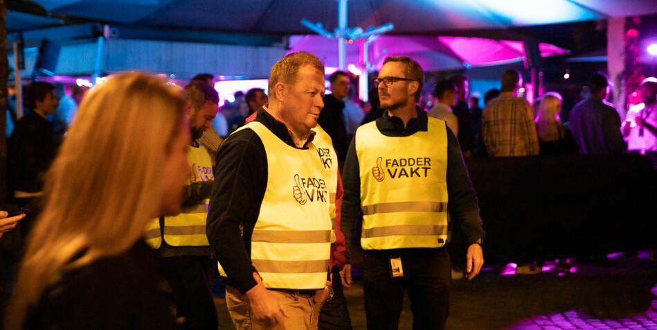(F.v) BI-rektor Inge Jan Henjesand og direktør i SiO Helse, Trond Morten Nejad-Trondsen, da de nylig var faddervakter i Oslo. Foto: Mina Ræge