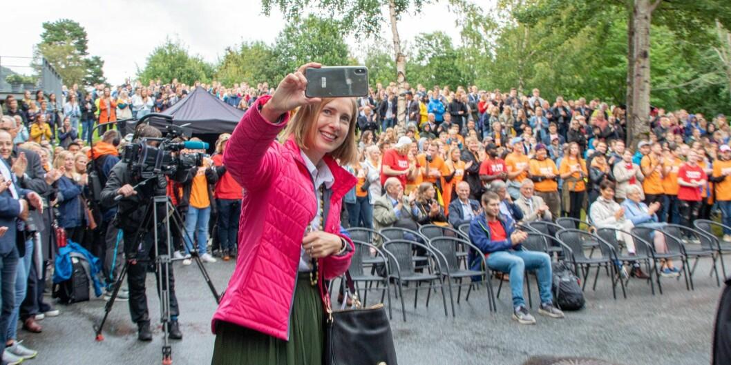 .Statsråd Iselin Nybø (V) vil at så mange studentar som råd reiser på utveksling. Biletet er frå studiestart ved Høgskulen i Volda. Foto: Øystein Torheim
