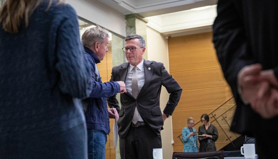 Dag Rune Olsen deltok som leder for Universitets- og høgskolerådet (UHR) på presentasjonen av den nasjonale rapporten rundt mobbing og trakassering. Foto: Siri Øverland Eriksen