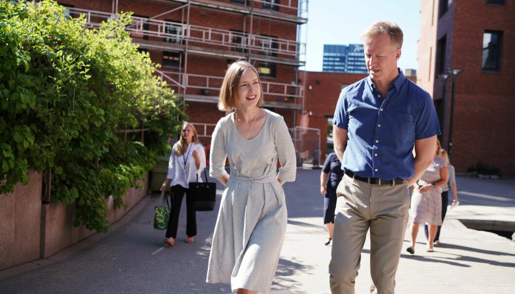 Forskning- og høyereutdanningsminister Iselin Nybø og rektor ved OsloMet, Curt Rice. Foto: Ketil Blom Haugstulen