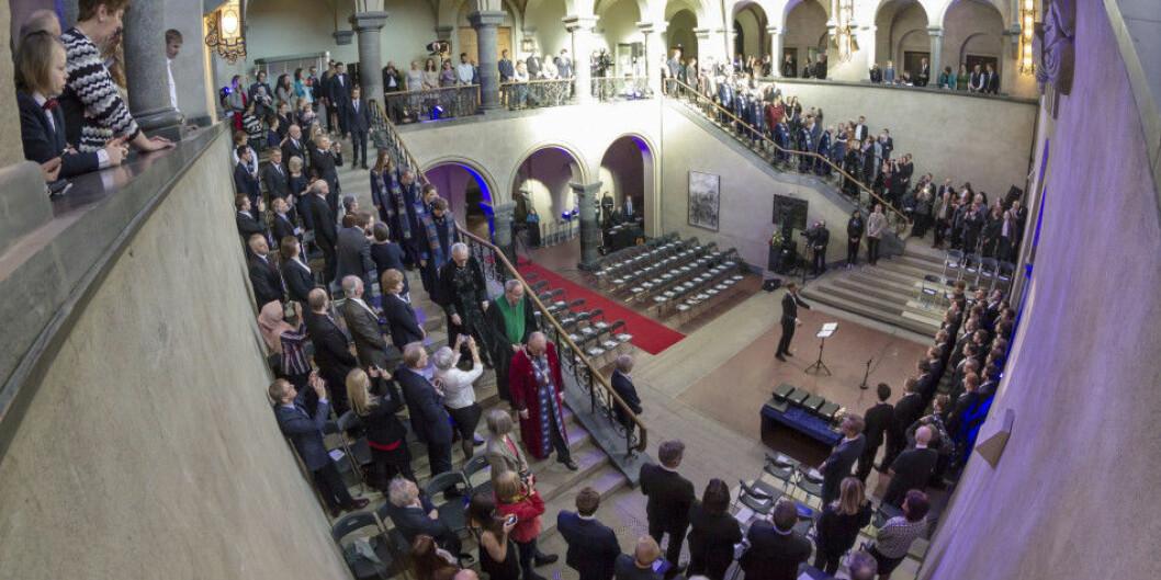 EU finansierer 52 norske doktorgradsstipendiater, ifølge årets tildeling. Her fra NTNUs doktorpromosjon i Hovedbygningens aula på Gløshaugen, mars 2018 . Foto: Thor Nielsen/NTNU