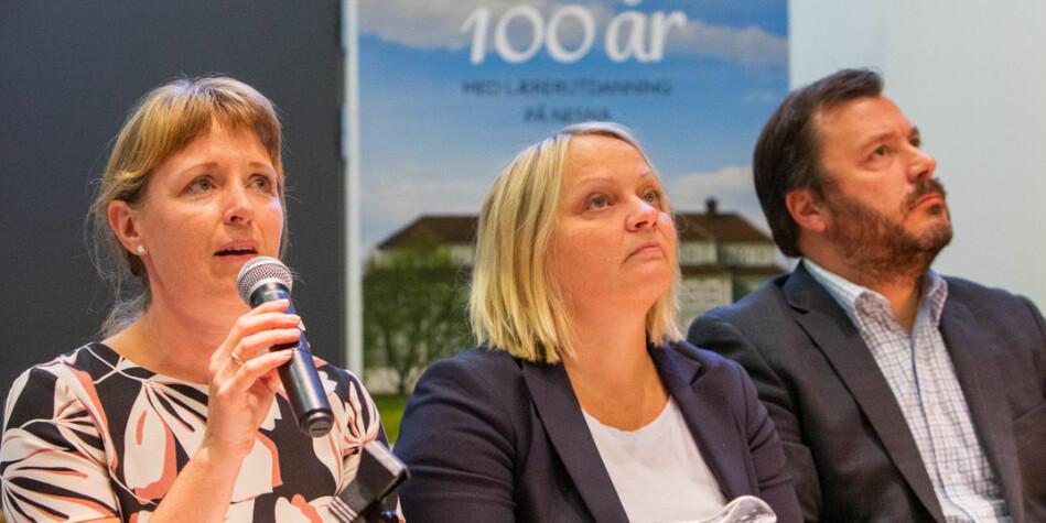 Ingelin Noresjø, nestleder i KrF (t.v.), sier hun føler seg lurt av strukturdebatten. Her i panelet sammen med Mona Fagerås (SV) og Høyres Stig Tore Skogsholm. Foto: Hans Petter Sørensen