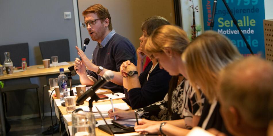 Martin Henriksen (Ap) på utdanningspolitisk konferanse på Nesna i slutten av august. Foto: Hans Petter Sørensen