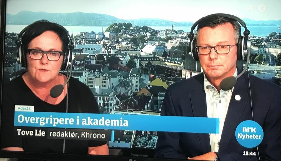 Debatt på Dagsnytt18 mellom Tove Lie og Dag Rune Olsen. Foto: Eva Tønnessen