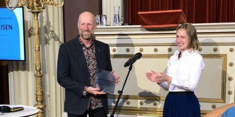 Forskningsrådets formidlingspris til professor Audun Rikardsen ved UiT. Foto: UiT