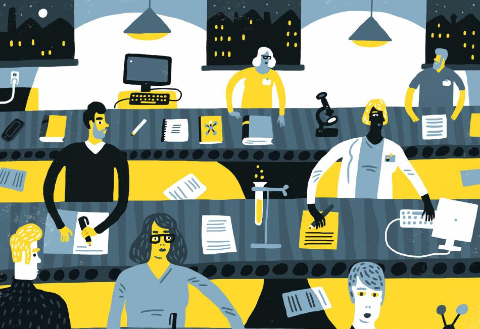 Er forskarane blitt stykkprisfinansierte arbeidarar på fabrikkuniversitetet, eller bygger kritikken på mytar om styringsmodellar? Illustrasjon: Øivind Hovland