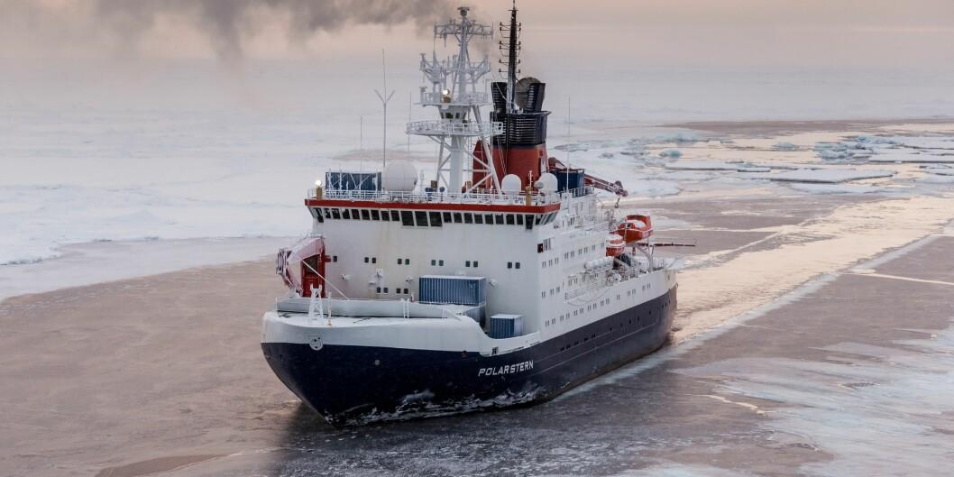 Det tyske forskingsskipet Polarstern skal frysa fast i isen. Foto: Alfred-Wegener-Institut / Mario Hoppmann
