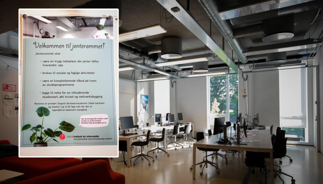 Jenterom på Institutt for informatikk, Universitetet i Oslo. Foto: Runhild Heggem /Montasje: Mats Arvesen