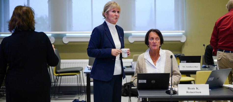 Organisasjonsdirektør Ida Munkeby ved NTNU, her på styremøtet i september, der hun orienterte styret om konfliktene ved Institutt for historiske studier (IHS) . Foto: Skjalg Bøhmer Vold