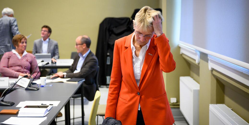 NTNU-rektor Anne Borg har en lang vei å gå for å nå målet om å være blant de beste i Norden. Nå er universitetet nummer 31 av 35 i Norden og bak universitetene i Oslo, Bergen og Tromsø, ifølge Times Higher Educations siste rangering. Bildet er fra et tidligere styremøte.