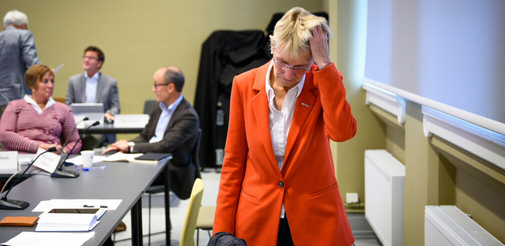 Anne Borg, konstituert rektor på NTNU, har vanskelege avgjersler å ta som øvste leiar på universitetet. Her er ho på det forrige styremøtet på NTNU, i september 2019. Foto: Skjalg Bøhmer Vold