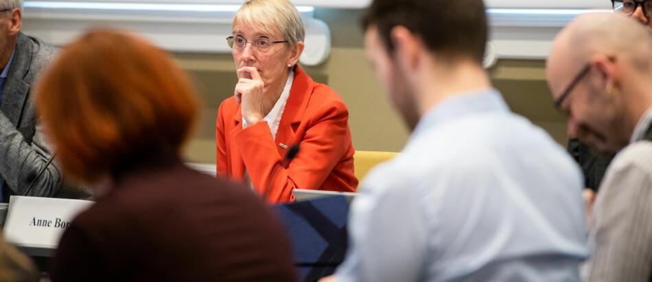 Anne Borg foreslår at universitetsstyret splitter opp Institutt for historisk studier og vurderer displinære tiltak overfor én ansatt. Bildet er fra NTNUs styremøte i september, neste møte er 31.oktober. Foto: Skjalg Bøhmer Vold