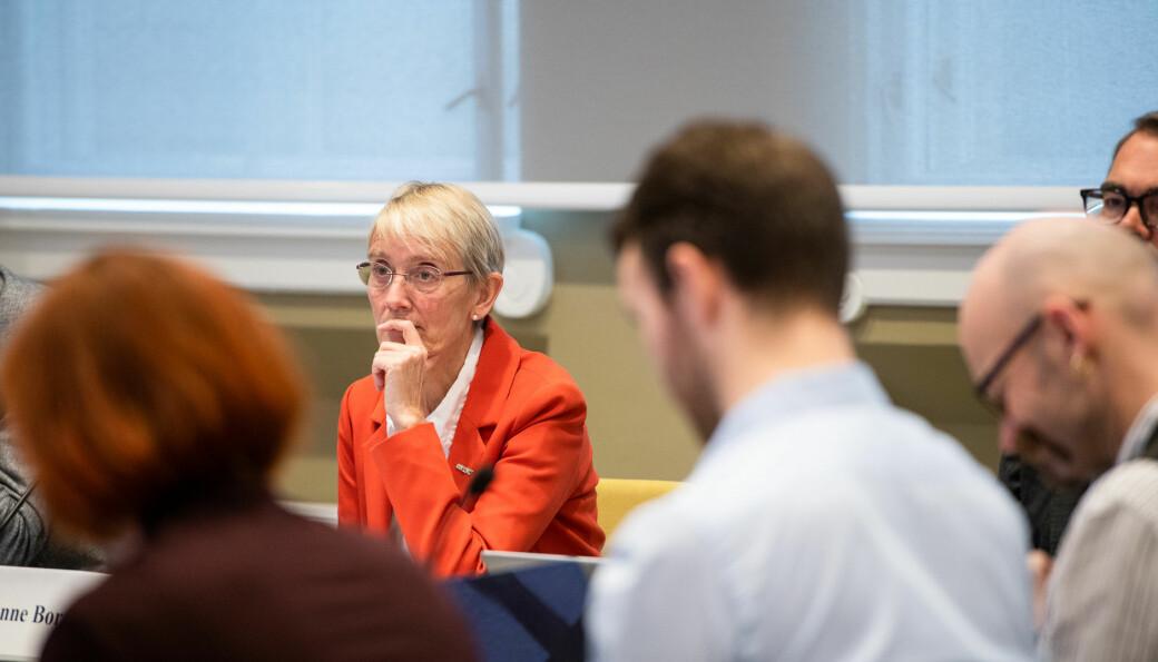 NTNU-rektor Anne Borg, under et tidligere styremøte. Torsdag sa styret nei til ledelsens ønske om å si opp en ansatt ved Medisinsk fakultet.