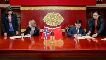 Statsråd Iselin Nybø møtte Kinas viseminister for utdanning, Du Zhanyuan, under en større delegasjonsreise i 2018. Foto: KD