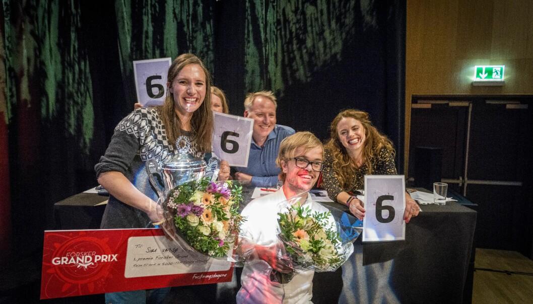 Siri Vatsø Haugum fra Universitetet i Bergen og Didrik Hjertaker Grevskott gikk videre til finalen i Forsker Grand Prix 2019 onsdag kveld. Foto: Tor Farstad