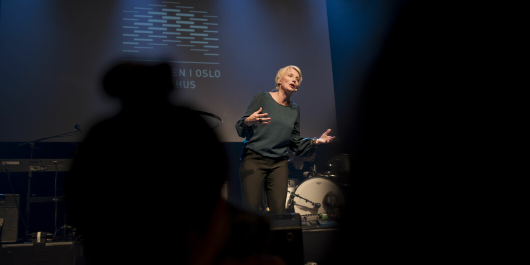 Guro Ødegård har startet i sin ny stilling som direktør for Velferdsforskningsinstituttet NOVA. Her avbildet på kick off-arrangementet for ansatte ved OsloMet i 2017. Foto: Skjalg Bøhmer Vold / OsloMet