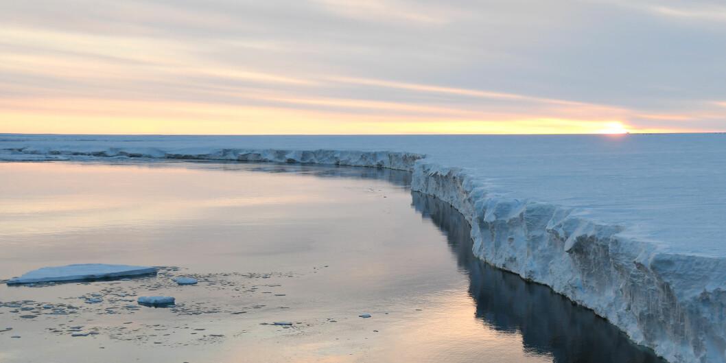Isbremmene i Antarktis utgjør en flytende buffer som hindrer innlandsisen i å sige ut i havet. Bildet viser Ekströmisen, en isbrem som ligger i Dronning Maud Land. Foto: Norce