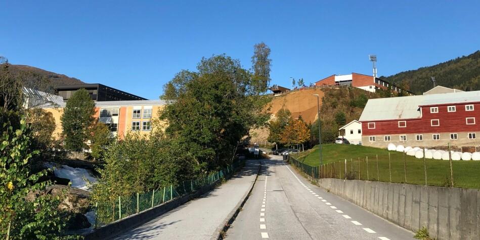 Vegen opp til Høgskulen på Vestlandet sin campus i Sogndal. Foto: Tove Lie