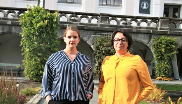 Mari Skåra Helliesen og Katherine Duarte har sett på folks holdninger til klimaendringene. FOTO: Jan Willie Olsen