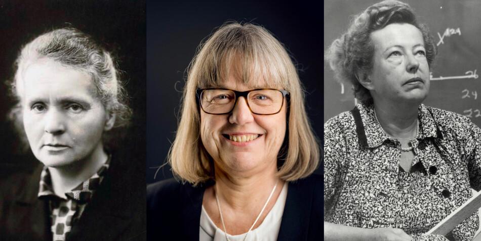 Marie Curie, Donna Strickland og Maria Goeppert Mayer er de eneste kvinnene som har mottatt nobelprisen i fysikk. Foto: Wikimedia Commons, Alexander Mahmoud og Wikimedia Commons
