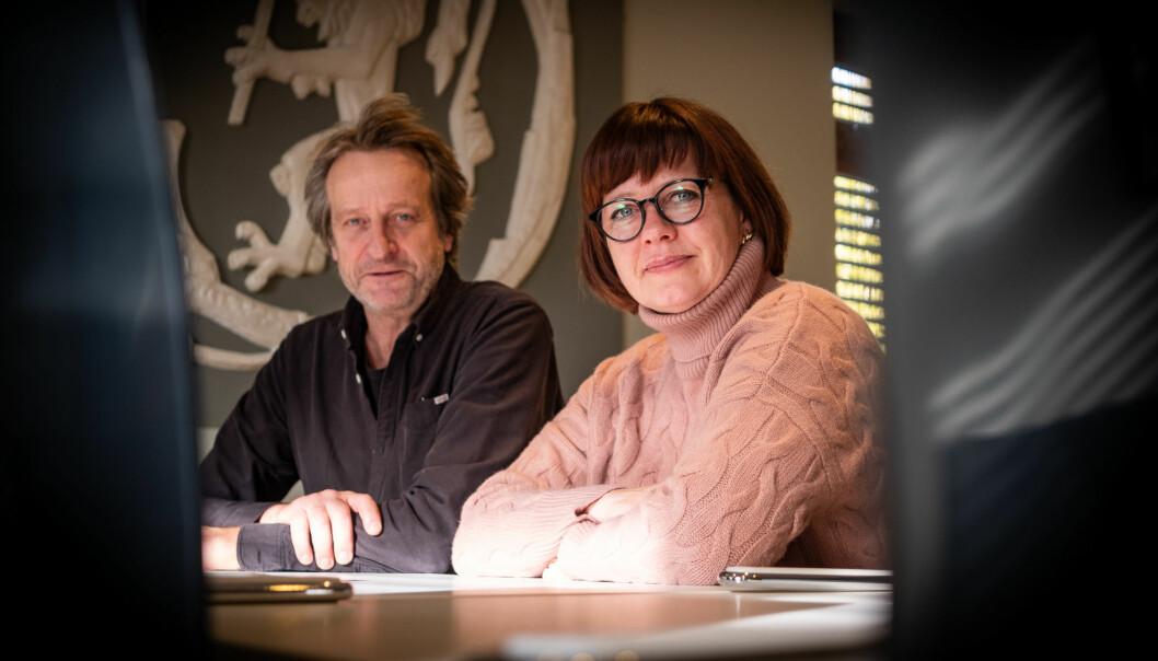 Åsmund Birkeland og Birgitte Ellefsen ved Politihøgskolen. Foto: Torkjell Trædal