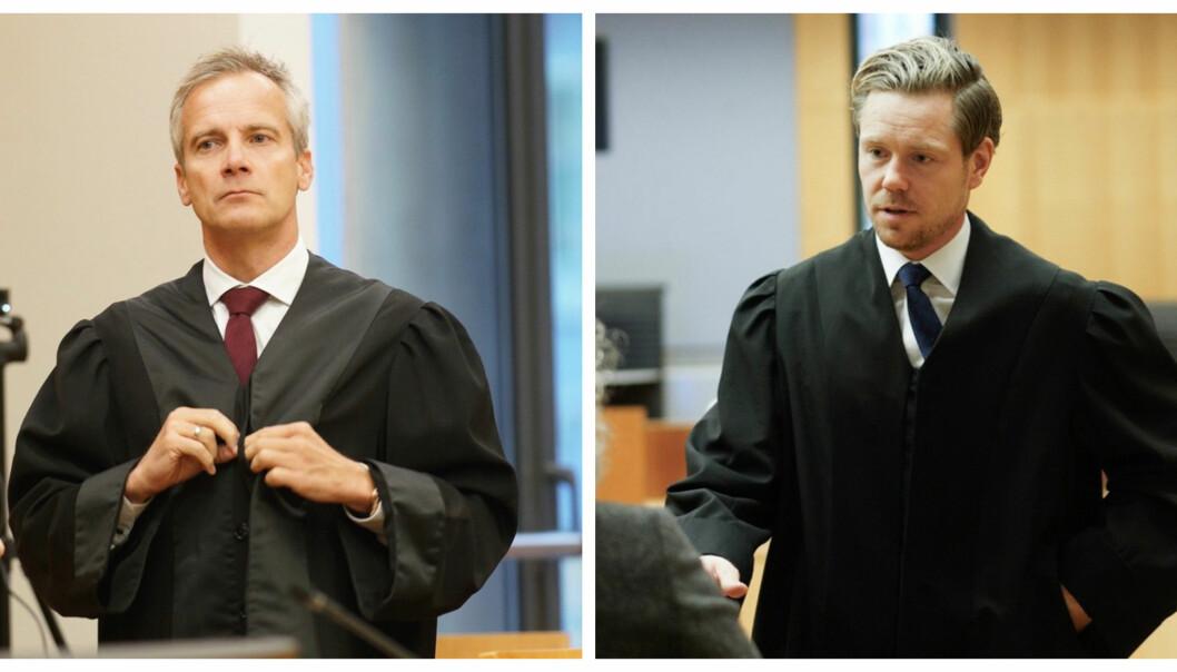 Per Andreas Bjørgan (t.v.) og Torje Sunde er advokatar for høvesvis saksøkarane og Helse- og omsorgsdepartementet. Foto: Ketil Blom Hausgstulen