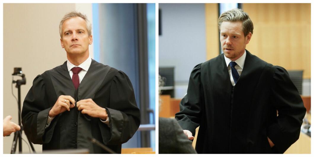 Per Andreas Bjørgan (t.v.) og Torje Sunde er advokater for henholdsvis saksøkerne og Helse- og omsorgsdepartementet. Her er de i tingretten. Saken er anket til lagmannsretten, som har bedt EFTA-domstolen komme med en rådgivende uttalelse.