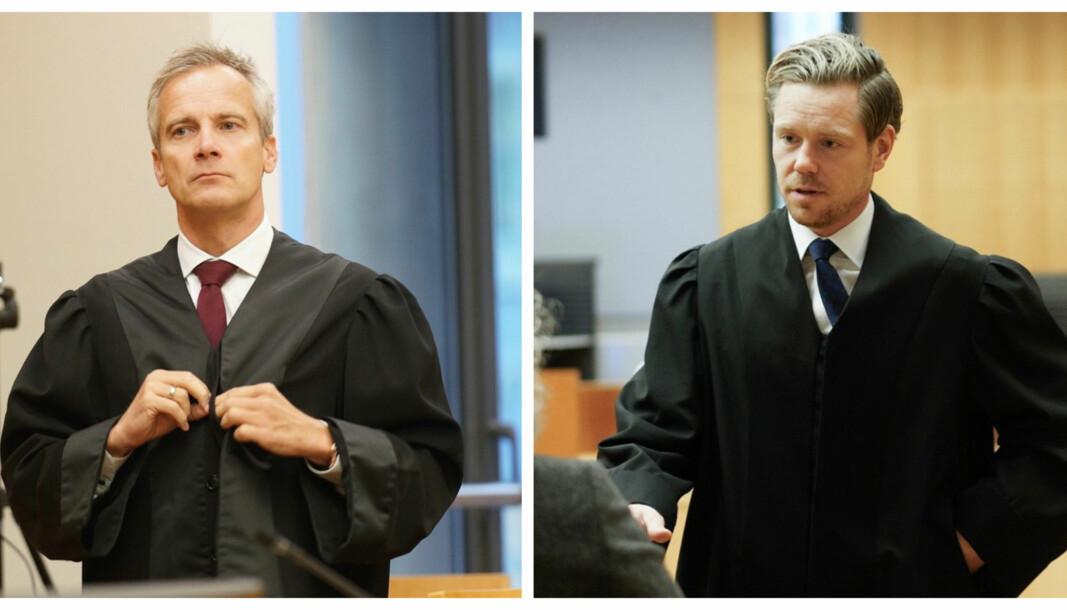Per Andreas Bjørgan (t.v.) og Torje Sunde er advokater for henholdsvis de ankende parter, ELTE-studentene, og staten ved Helse- og omsorgsdepartementet. Her under tingrettssaken i oktober 2019.