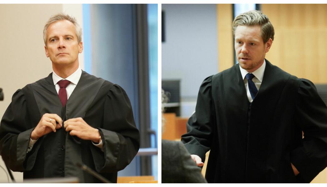 Per Andreas Bjørgan (t.v.) og Torje Sunde er advokater for henholdsvis saksøkerne og Helse- og omsorgsdepartementet.