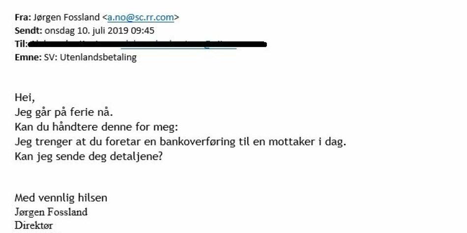 Skjermdump av e-post