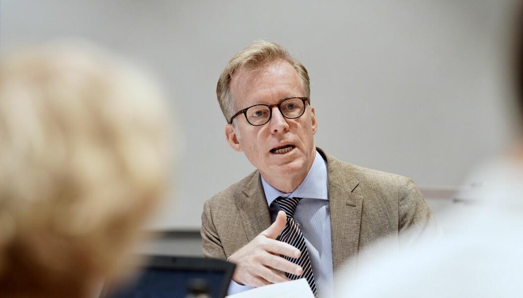 Rektor Curt Rice ved OsloMet sier det er bekymringsfullt at fakultetene ikke klarer å dimensjonere virksomheten i forhold til budsjett. Foto: Ketil Blom Haugstulen