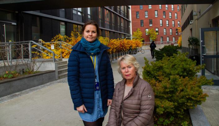 Celina Anker-Rasch (til h.) har tatt i bruk kreative løsninger for å løse pandemi-problemer. Her avbildet med universitetslektor Kari Anne Hoel til en annen sak.