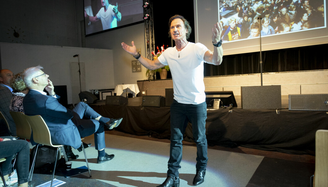 Petter Stordalen under et foredrag på NHH tidligere i år. Foto: Tor Farstad