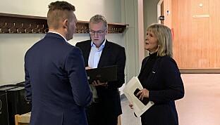 Jurist Arve Skjervø, HR-sjef Arne Kr. Hestnes og organisasjonsdirektør Ida Munkeby vart kasta på gangen rundt 09.45. Foto: Ragnhild Vartdal